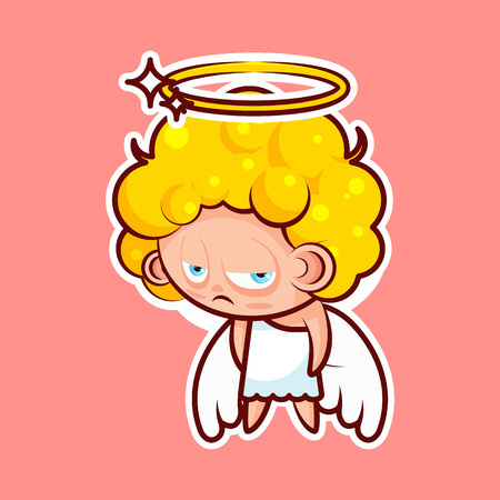 Sticker emoji emoticon, emotion depression, resentment, view from under forehead vector character sweet divine entity, heavenly angel, saint spirit, wings, radiant halo