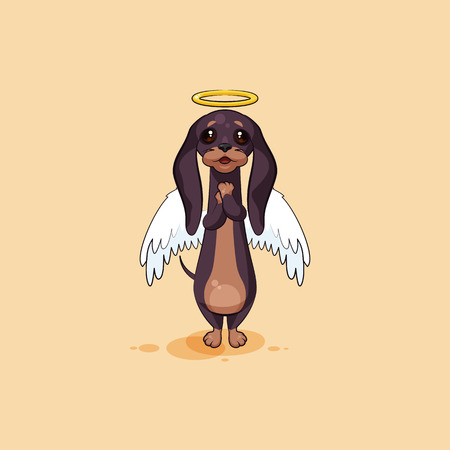 Vector stock illustration emoji of cartoon character dog talisman, phylactery hound, mascot pooch, bowwow dachshund sticker emoticon German badger-dog angel, wings halo, praying