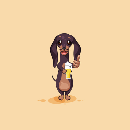 Vector stock illustration emoji of cartoon character dog talisman, phylactery hound, mascot pooch, bowwow dachshund sticker emoticon German badger-dog cheer up toast with beer