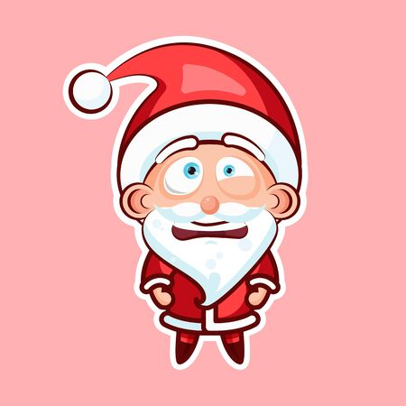 Sticker emoji emoticon, emotion depression, resentment, view from under forehead vector character sweet cute Santa Claus, Father Frost pink background for Happy New Year and Merry Christmas
