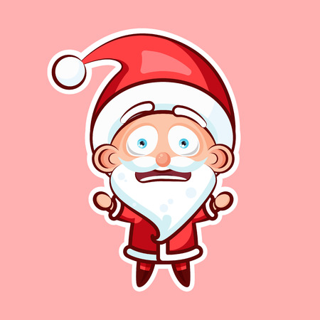 resentment: Sticker emoji emoticon, emotion depression, resentment, view from under forehead vector character sweet cute Santa Claus, Father Frost pink background for Happy New Year and Merry Christmas