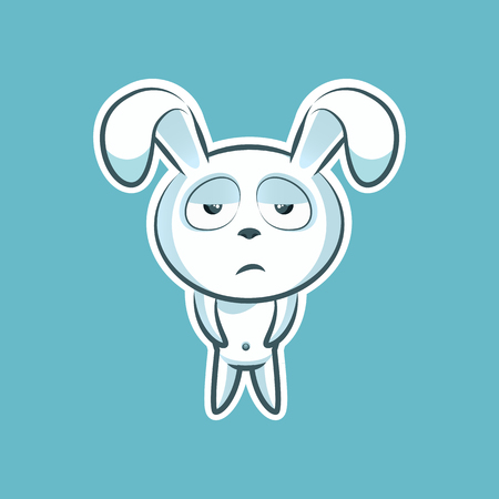 Sticker emoji emoticon, emotion, boredom, unperturbed, hopelessness, vector isolated character sweet, cute white rabbit, bunny, hare, coney cony lapin for happy Easter mobile app