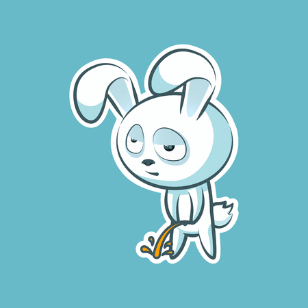 Sticker emoji emoticon, emotion pee with laid-back view vector isolated illustration character sweet, cute white rabbit, bunny, hare, coney, cony, for happy Easter.