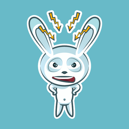 Sticker emoji emoticon, emotion swear, angry, lightning, vector isolated illustration character sweet, cute white rabbit, bunny, hare, coney, cony, lapin for happy Easter. Illustration