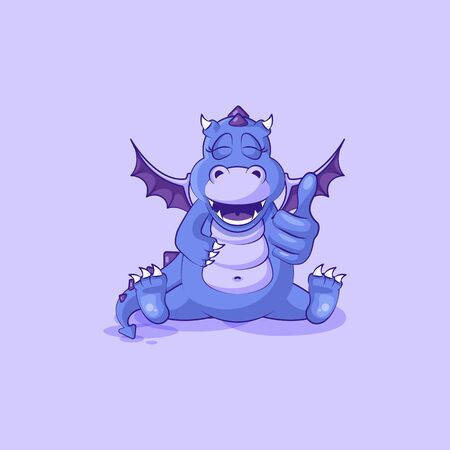 Vector Emoji character cartoon dragon dinosaur approves with thumb up sticker emoticon