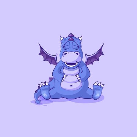 Vector Emoji character cartoon dragon dinosaur happy and contented hippo sticker emoticon
