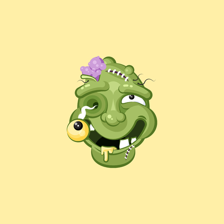 Head, facial expression zombie with dreamily smiling smiley emotion, emoji, sticker for Happy Halloween in flat style