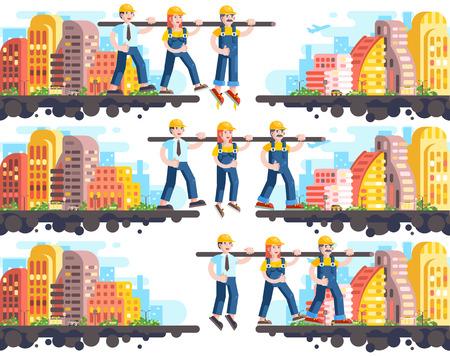 Business proces gebouw en wederzijdse bijstand, team management of teamwork, drie werknemers werken, strategie van succesvolle opstart platte stijl