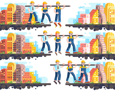 Business process building and mutual assistance, teambuilding management or teamwork, three workers working, strategy of successful start-up flat style