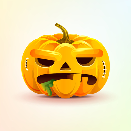 Jack-o-lantern, terrible facial expression autumn pumpkin with evil emotion, emoji, sticker for Happy Halloween Ilustração