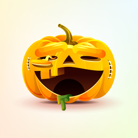 Jack-o-lantern, terrible facial expression smiley pumpkin with laughing emotion, emoji sticker for Happy Halloween