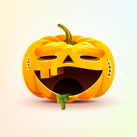 Stock vector illustration horrible cartoon Jack-o-lantern, terrible facial expression smiley pumpkin with laughing emotion, emoji sticker for celebrating Day all Saints, Happy Halloween in flat style Stock Photo