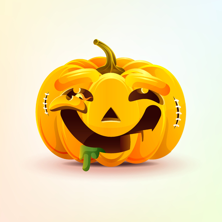 Jack-o-lantern, facial expression pumpkin with dreamily smiling smiley emotion, emoji, sticker for Happy Halloween Illustration