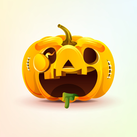 Stock vector illustration horrible cartoon Jack-o-lantern, facial expression autumn pumpkin with rejoicing smiley emotion, emoji, sticker for celebrating Day all Saints, Happy Halloween in flat style Illustration