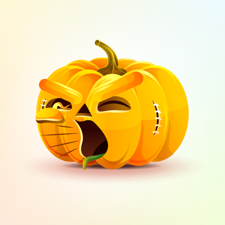 Jack-o-lantern, terrible facial expression pumpkin, yelling scream smiley emotion, emoji, sticker for Happy Halloween