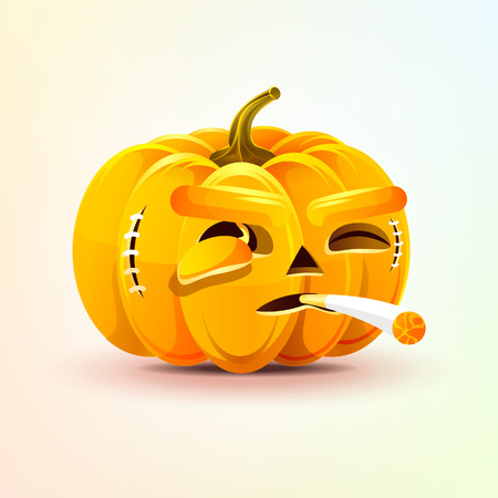Jack-o-lantern, terrible facial expression of pumpkin smoking cigarette emotion, emoji sticker for Happy Halloween