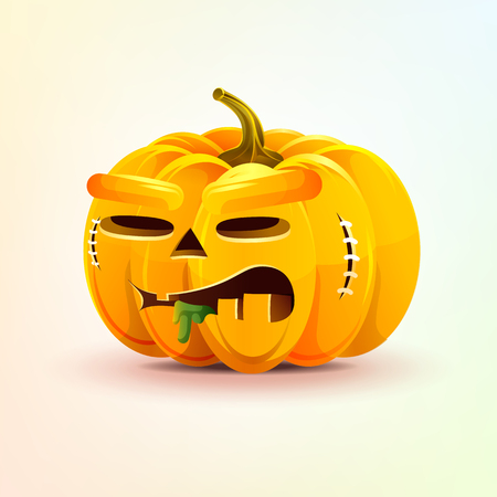 Jack-o-lantern, terrible facial expression autumn pumpkin nasty ugly emotion, emoji, sticker for Happy Halloween