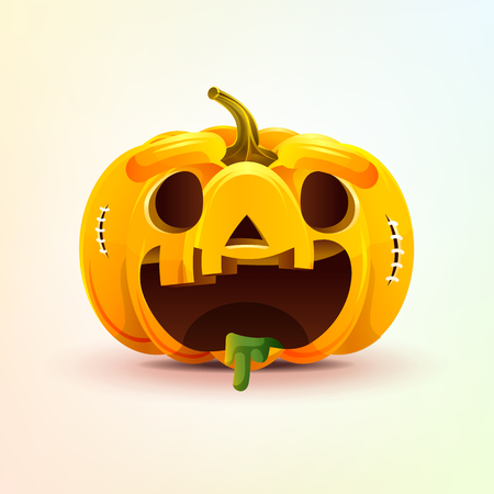 Jack-o-lantern, facial expression autumn pumpkin with rejoicing smiley emotion, emoji, sticker for Happy Halloween Stock Photo