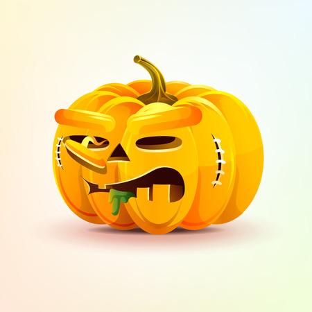 Stock vector illustration horrible cartoon Jack-o-lantern, terrible facial expression autumn pumpkin nasty ugly emotion, emoji, sticker for celebrating Day all Saints, Happy Halloween in flat style