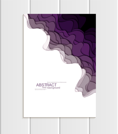 Vector brochure A5 or A4 format abstract uneven purple, violet shapes design element corporate style