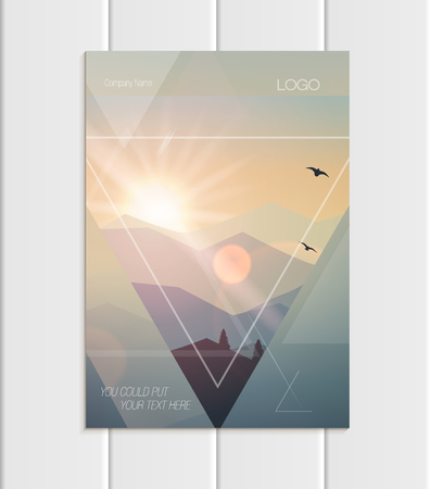 Vector brochure A5 or A4 format abstract uneven colorful shapes design element corporate style 版權商用圖片