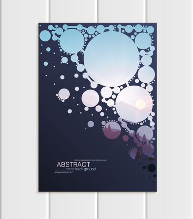 Stock vector brochure A4 or A5 format design Christmas templates with abstract triangles winter landscape New Year 2018 full moon night background for printed material, element, card, corporate style 版權商用圖片 - 91130300