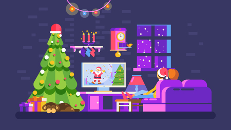 Christmas evening home interior, lovers sit on couch watch TV with Santa Claus in New Year Eve festive night