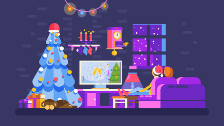 Stock vector illustration cozy Christmas evening home interior, lovers sit on couch watch TV with Santa Claus in New Year Eve festive night, dog near Xmas tree for Motion Design flat style dark background Illustration