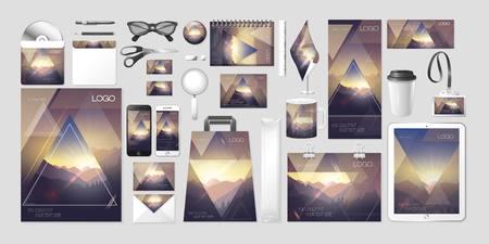 Vector set kit collection corporate identity mockup mock up ecology environment landscape nature design