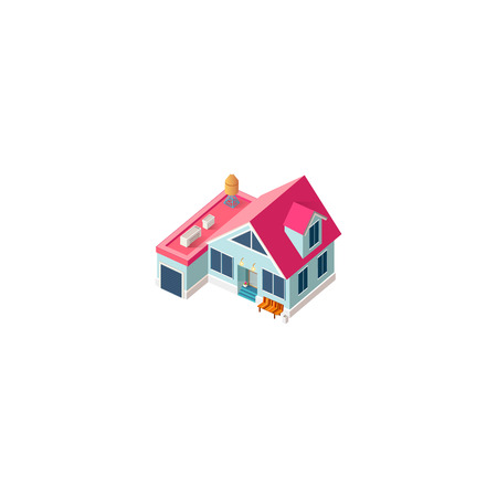 Isometric facade cottage