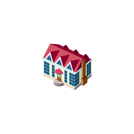 Isometric facade cottage with roof
