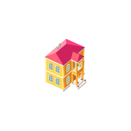 Isometric facade yellow house Illustration