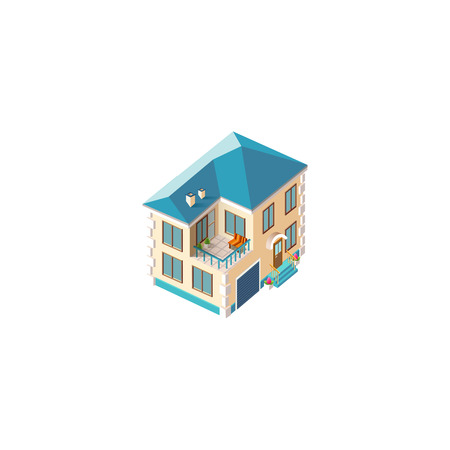 Isometric facade beige house Illustration