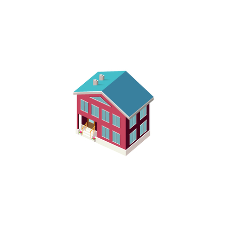 Isometric facade red house