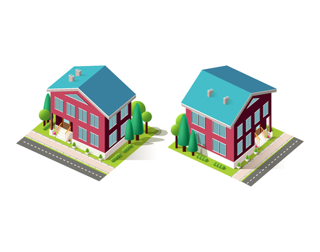 Isometric facade set red houses 矢量图像