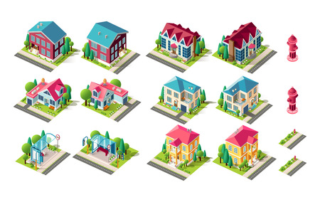 Isometric set town infrastructure