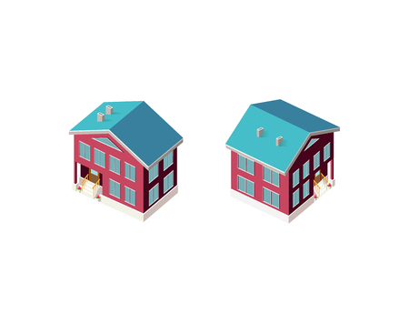 Isometric set country house Illustration
