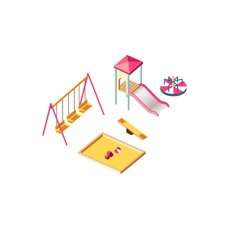 Vector illustration isolated isometric children playground, swings, slide, jungle gym, merry go round, carousel, seesaw, sandbox, playing field town city urban infrastructure element white background Illustration