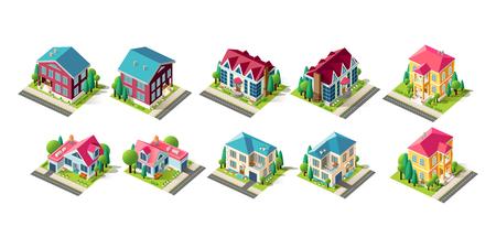 Isometric set facade house