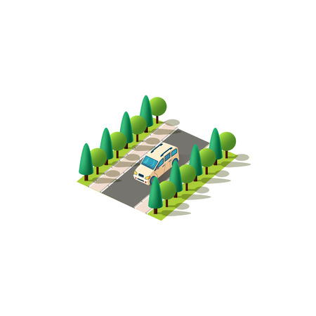 Vector isolated isometric front left view small van minivan car carriage of goods, transportation passengers vehicle travel, city urban infrastructure element logistics, travel trip white background Ilustracja