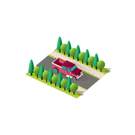 Vector isolated isometric icon front right view pickup truck car carriage of goods, passenger transportation vehicle, trucking industry urban city infrastructure element logistics on white background