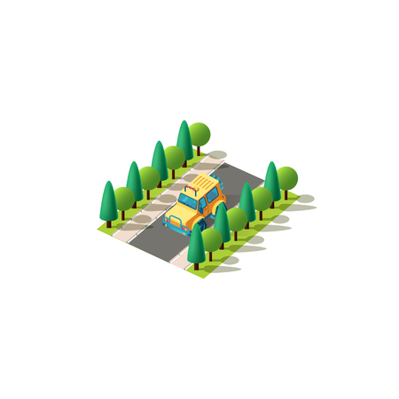 Vector isolated isometric icon front left view yellow SUV, sport utility vehicle rides alone on road between trees passenger transportation, urban city infrastructure element on white background