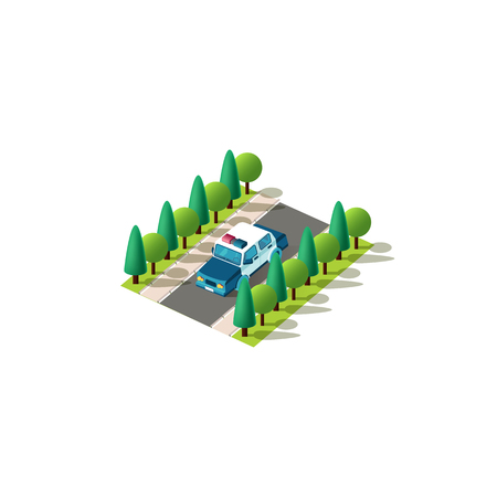Stock vector isolated isometric icon front left view police car, patrol service vehicle rides alone on road between trees urban city infrastructure element on white background