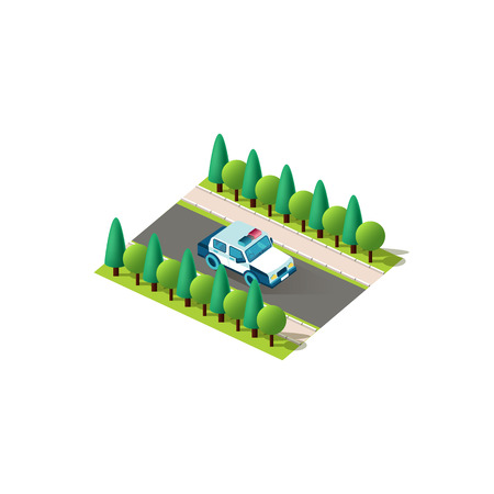 Stock vector isolated isometric icon front right view police car, patrol service vehicle rides alone on road between trees urban city infrastructure element on white background Ilustracja