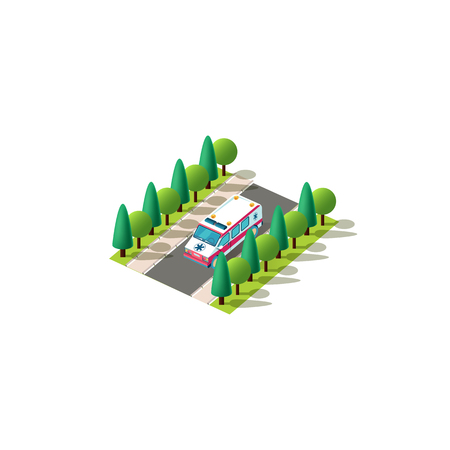 Stock vector isolated isometric icon front left view ambulance first-aid car, medicine service vehicle rides alone on road between trees urban city infrastructure element on white background