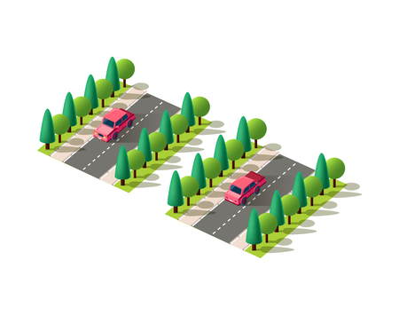 Set kit collection vector isolated isometric front, back left view red passenger car, sedan on road, city urban infrastructure element logistics, transportation, travel, trip white background