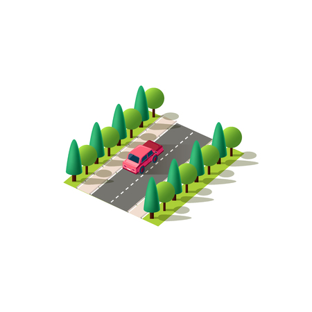 Stock vector isolated isometric illustration back view red passenger car, sedan rides traveling along road, city urban infrastructure element logistics, transportation, travel, trip white background Ilustracja