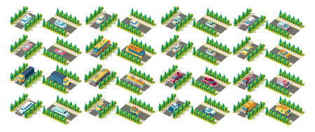 Set kit vector collection isolated isometric icon front right left view police car, garbage taxi, ambulance, fire truck, bus, tram, limousine, cabriolet, minivan, vehicle road urban city infrastructure Ilustracja
