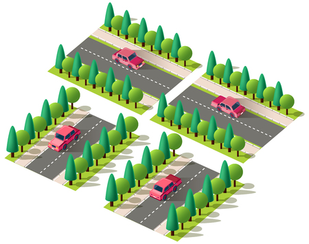 Set kit collection vector isolated isometric front, back left right view red passenger car, sedan on road, city urban infrastructure element logistics, transportation, travel, trip white background Ilustracja