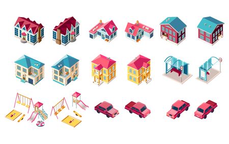Set vector isolated isometric illustration country house vacation home, penthouse, bus station public transport stop car fire hydrant right left view playground children city infrastructure element Ilustracja